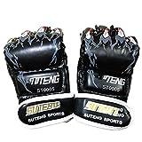 JJEB Artigli Stampati Mezze Dita Sparring Pugilato Guanti MMA Muay Thai Sanda Bag Punch Training Training Guanti Attrezzatura per Kickboxing,Black
