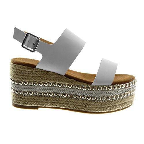 Clouté 5 Blanc Talon Femme Mode Sandale Cheville Plateforme 34jqL5RA