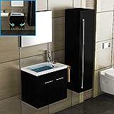 Waschbecken mit Unterschrank, Hochschrank und Spiegel/Schwarz