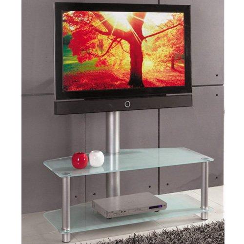 Mobile Porta TV LCD Moderno in Acciaio e Vetro 110x54x120cm Concept Frost Mobiletto Salvaspazio Salvafili Per Televisori da 32