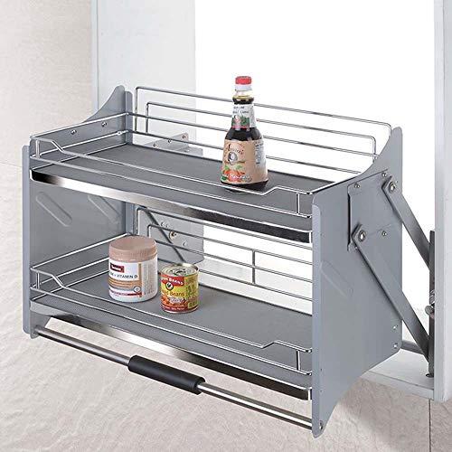 Regal für Hebeschränke Handkorb Küchenregal Eisen, Nano Silber, Starke Tragfähigkeit 4 Gangstellungen Gleichgewicht Mehrere Größen (Nano-silber-eisen)