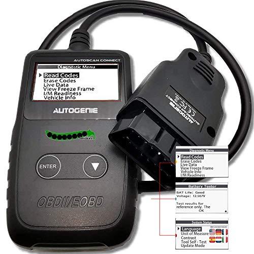 Autogenie Connect OBD2 Auto Diagnosegerät Fehler Codes Auslesen Löschen Lesegerät Display Pkw Fehler-Code Scanner Diagnose Scan Werkzeug für alle OBDII Protokoll Autos
