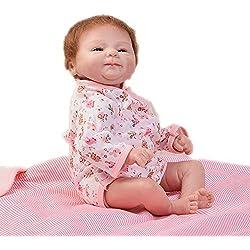KEIUMI 17 Pulgadas Realistic Reborn Baby Dolls Niñas Que se Ven Real Silicona Suave Realista Bebés simulación muñeca con Ojos Azules Niños cumpleaños