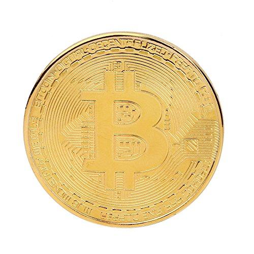 TWIFER Gold überzogene Bitcoin Münze Sammlerstück BTC Münze Kunst Sammlung Physikalisch (38mm, Gold) - 3