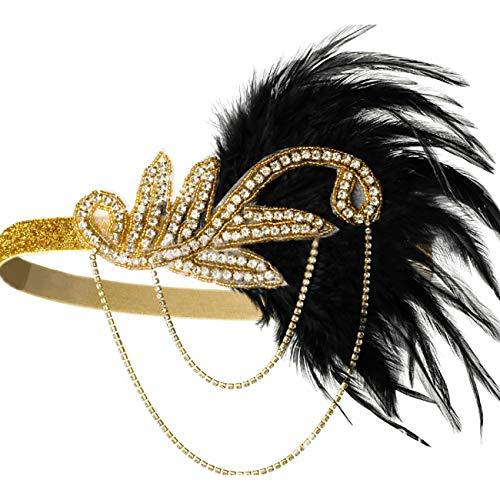 ShiyiUP Kopfbedeckung für Bauchtanz, mit Federn - gold - Einheitsgröße (Womens Indian Kopfschmuck Kostüm)