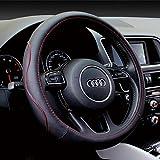 TuoOh Funda de volante de piel de microfibra para coche, universal, antideslizante, no tóxica, para volante de 38 cm (negro y línea rojo)