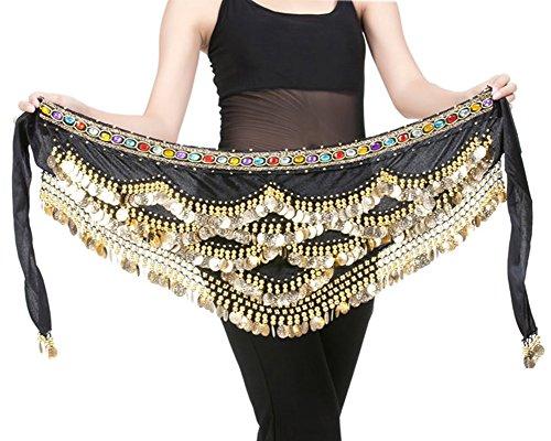 Küssen U Bauch Tanzen Hüfte Schal Wickeln Gürtel Tänzer Rock Kostüm mit Bunt Diamanten Dekoriert und 328 Gold Metallmünzen ()