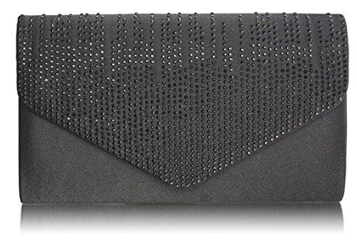 LeahWard® Femme Sélection Du Défilé Qualité Diamante Conception Soir rabat Plus de Fête Sac Main Portefeuille CWE0070 CWE00299 E0070 Noir