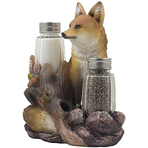 Decorative Sly Fox Salt and Pepper Shaker Set with Holder Figurine Display Stand for Cabin and Rustic Lodge Kitchen Table Décor Centerpieces & Sculptures As Father