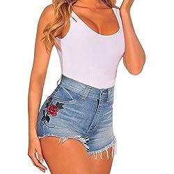 Mujer Verano Vintage Jeans Impreso Cintura Alta Hole Short Jeans Denim Shorts Azul ES 40/Cintura 74 cm
