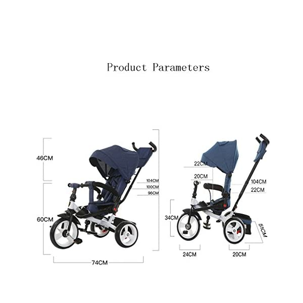 Baby Kids Children Tricycle Ride-on 3 Wheels Safe for Children with Sun Canopy,Back Storage and Non-Slip Handle (Color : A) DUOER-Pushchairs Features assembled canopies without worrying about rain and sunshine. Safety features and safety belts are provided for safety. The pedal can be folded for more convenient use: the pedal can be folded to make travel more convenient. Upgrade the thickened sponge pillow to protect the baby's head and make the baby ride safer. 2