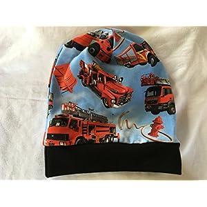 Beanie Mütze Feuerwehr hellblau Kopfumfang 45-48 cm