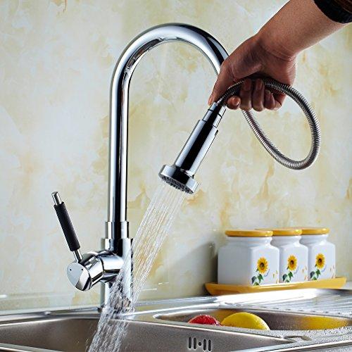 Auralum® Garanzia di 2 anni a leva singola estraibile rubinetto della cucina Rubinetti lavandino doccia Miscelatore monocomando con cartuccia ceramica