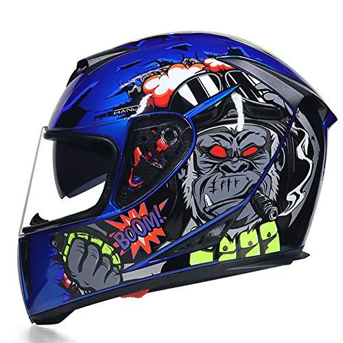 Story of life Männer Motocross Helm Integralhelm, Doppel-Objektiv Anti-Fog Helm Downhill Helm Für Motorrad Mountainbike ATV Road Racing Kollision Helm,Clear,XL