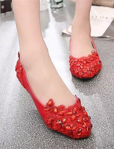 XAH@ Chaussures Femme-Extérieure / Bureau & Travail / Habillé / Décontracté-Rouge / Blanc-Talon Plat-Ballerine-Plates-PU white-us8.5 / eu39 / uk6.5 / cn40