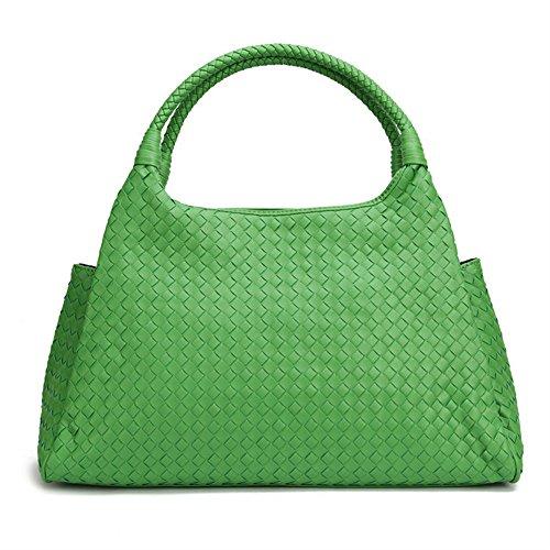 Otomoll Neue Ankunft Handgefertigte Schultertasche Aus Der Tasche Frauen Handtaschen Premium Faux Schaffell Leder Totebeutel, Grün (Grün Leder Faux Tote Tasche)