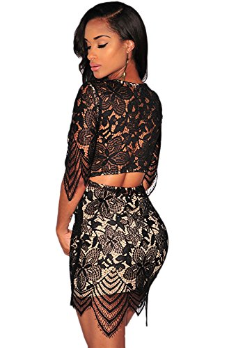Blansdi Femmes Col Rond Manches Courtes Mince Bodycon Mini Robe Dentelle Perspective Clubwear Noir