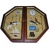 Maritimer Angler Schlüsselkasten 30x35cm Schlüsselschrank mit Uhr aus Holz