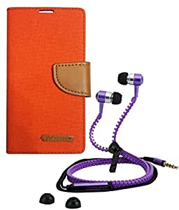 Aart Fancy Wallet Dairy Jeans Flip Case Cover for MicromaxA104 (Orange) + Zipper Earphones/Hands free With Mic *Stylish Design* for all Mobiles- computers & laptops By Aart Store.