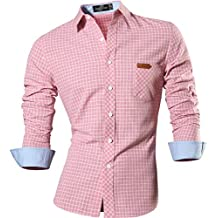 Jeansian Hombre Camiseta Moda Manga Larga Long Sleeves Camisas Casual Shirts Plaid Casual Pocket Dress Tops Slim Fit Punto Cuello Breasted Plaid Check 8615