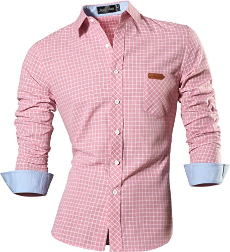 jeansian Hombre Camisa Moda Casual Button Down Slim Fit Long Sleeves Dress Shirt Tops 8615 Pink S