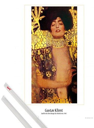 1art1 Poster + Hanger: Gustav Klimt Poster (91x61 cm) Judith I, 1901 Inklusive EIN Paar Posterleisten, Transparent