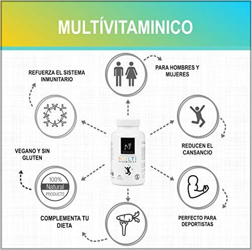 518ZYMLbakL - Complejo multivitamínico para hombre y mujer, a base de vitaminas y minerales. Reduce el cansancio, la fatiga y refuerza el sistema inmunitario. 90 cápsulas vegetales. Vegano y sin gluten.