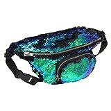 DrCosy Unisex Glitter Meerjungfrau Pailletten Hüfttasche Gürteltasche Sporttasche Outdoor Travel Umhängetaschen (35x15cm)