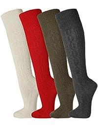TippTexx24 FussFreunde, 2 Paar traditionelle Kniebundhosenstrümpfe, Kniebundstrümpfe, Trachtenstrümpfe, Trachtensocken in 4 FARBEN