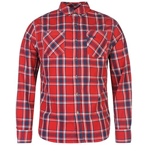 Lee Cooper Uomo Harlington Camicia a Quadri Bottoni Manica Lunga con Colletto Rosso XX Large