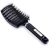Spazzola Kaiercat con setole di cinghiale per eliminare i nodi dei capelli più spessi e per asciugarli più velocemente – 100% Setole di Cinghiale Naturali per distribuire meglio il sebo dei capelli (Nera)