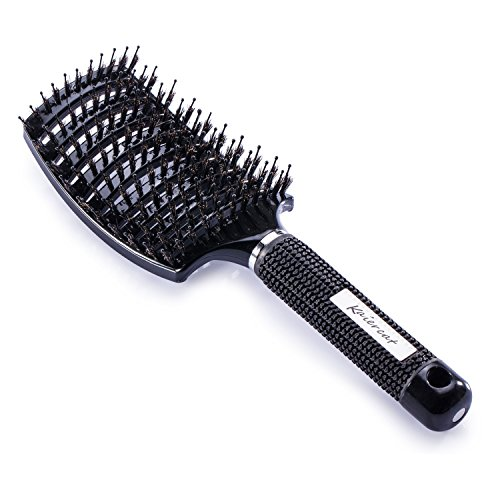 Cepillo Kaiercat de cerdas de jabalí. El mejor en desenredar cabello grueso, ventilado para un secado más rápido; con cerdas de jabalí 100% naturales para la distribución del aceite en el cabello (negro)