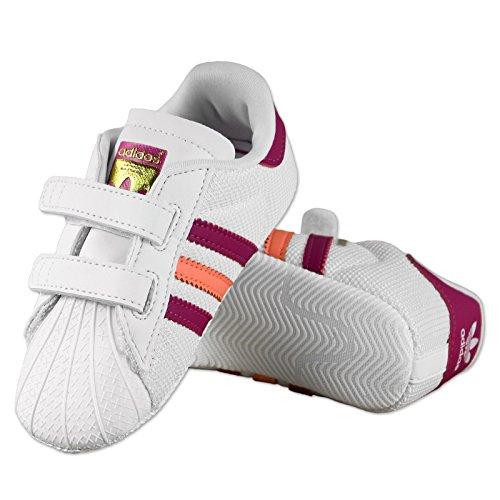 adidas , Chaussures souples pour bébé (fille) blanc white/pink/cerise UK 1