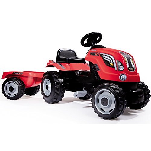 H-Collection-Smoby Smoby Traktor Farmer XL Loader mit Anhänger, rot