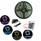 Sunface LED Strip Lights Kit - 16.4ft / 5M Flexible 3528 RGB 300 LEDs Led Strips Lights Kit With 24Key IR Remote Control and DC 12V3A Power Supply UK Multi-coloured LED Tape, Christmas Decoration Lighting [Energy Class A+]