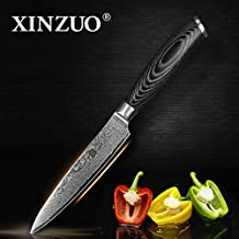 XINZUO 5 inch Utility Knife Slicing Hammered Forging Damascus Kitchen Knife Very Sharp Steak knife Knife Fashion Professional Fruit Knife Peeling Table Salad Knife Cultery with Rosewood Handle