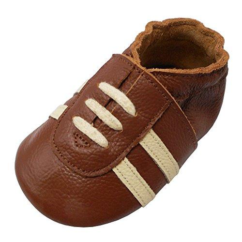 YIHAKIDS Weicher Leder Lauflernschuhe Krabbelschuhe Babyhausschuhe Turnschuh Sneakers mit Wildledersohlen(Braun,18-24 Monate,24/25 EU)