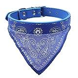 AKUKA Hundehalsband Echt Leder Halsband, wasserdicht Pet Halsbänder Halskette verstellbar Katze Supplies Hundegeschirre Triangle Schal Halsband für Kleine mittel große Hunde Katzen