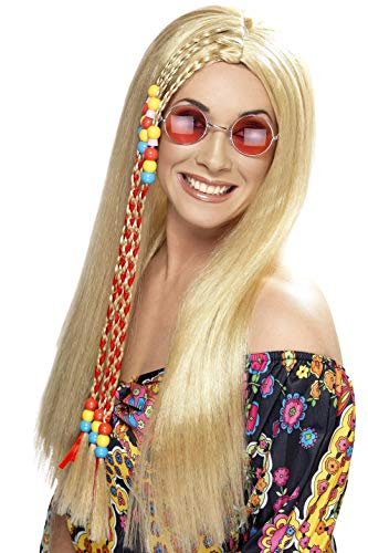 ahre Lange Perücke mit Bunter Strähne, Hippie Party Perücke, Blond, One Size, 42184 ()