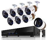 ELEC Kit de 8 Cámaras de Vigilancia Seguridad,CCTV DVR P2P 8CH AHD 1080P Lite Recorder, 2000TVL...