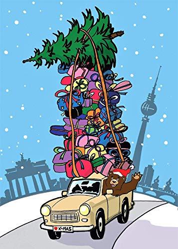 Weihnachtskarte Berlin Fernsehturm Brandenburger Tor Trabi & Bär