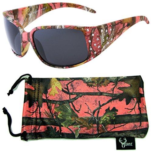 Hornz Rosa Camouflage polarisierten Sonnenbrillen Country Girl Style Strass Akzente & freie passende Beutel aus Mikrofaser - Rosa Camo Rahmen - Rauch- Objektiv