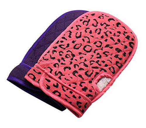 Spicy Meow Sets von 2 Massage Reiben Bad Handschuhe Dick Schwamm Bad Handtuch Lila Leopard Rot