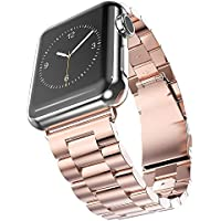 Men Women Iphone Stainless Steel Metal Apple iWatch Band 42mm 38mm Strap Replacement Parts Series 1 2 3 Rose Gold Chain Silver Black Yellow Smart Wrist Fitness Holder Watchband tool (Rose gold, 42mm)