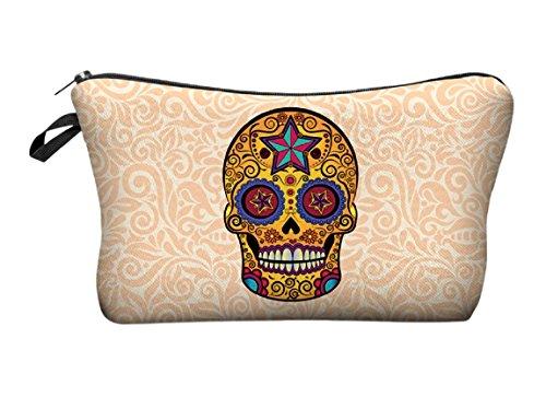 Modische Kulturtasche | Kosmetiktasche | Schminktasche (Make-Up Bag) | Kulturbeutel mit schönen Print-Motiven für Reisen, Urlaub und Alltag (Gelb (Tattoo Skull))