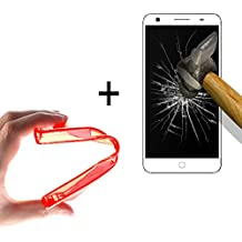 WoowCase   Funda Gel Flexible para [ Elephone P7000 ] [ +1 Protector Cristal Vidrio Templado ] Ultra Resistente contra Arañazos y Golpes Dureza 9H, Carcasa Case Silicona TPU Suave - Rojo
