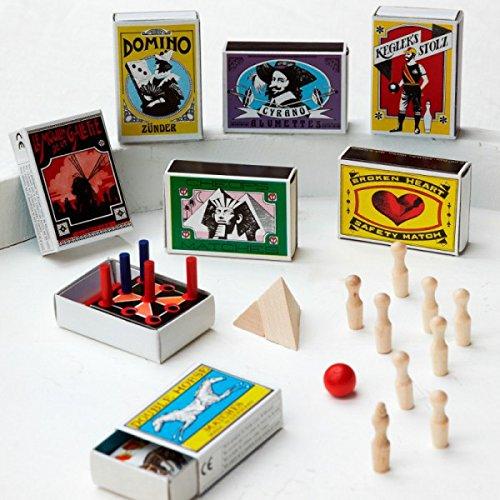 Vanharte Tischspiele 6er Set   Gastgeschenk Hochzeit Give Away Gäste   Sortiert Set mit 6 Streichholzschachteln mit Spielen