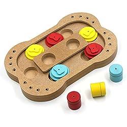 Lenhart Bol de madera para perros y gatos de juguete inteligente, interactivo, para comer dulces, puzle, divertido, para ocultar y buscar alimentos