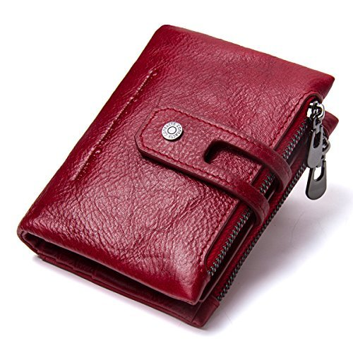 (Contacts Herren Echtes Leder-Bifold Wallet Doppelreißverschlusstasche Geldbörse (Rot))