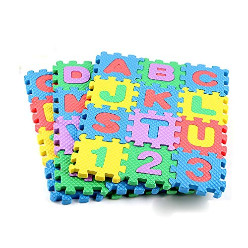 WP Mini 36Pcs Alphabet Numeral Foam Mat Education Toys Developmental Intelligence Toy for Kids Puzzle Educational Learning Toy Growing Experiment Gift Toy Pretend Toy Toddlers Toy (Multicolor)